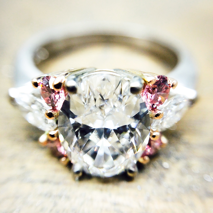 diamond and tourmaline cocktail engagement ring
