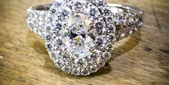 Diamond double halo platinum engagement ring