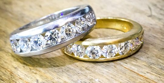 diamond channel set wedding ring