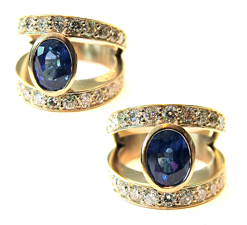 18ct yellow gold sapphire cocktail ring