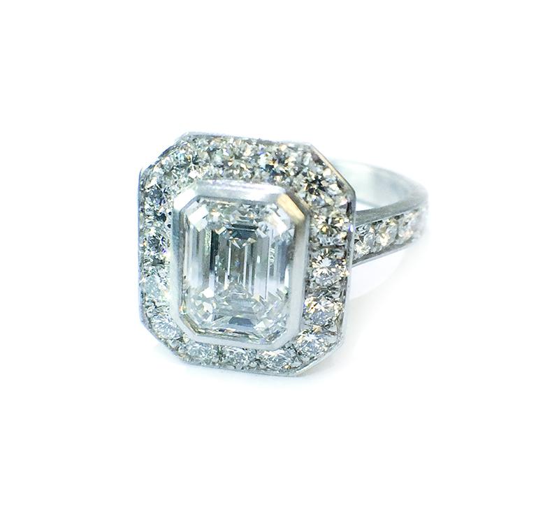 Platinum diamond emerald cut halo ring