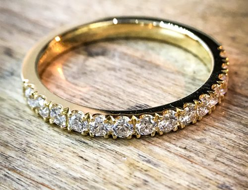 WEDDING RINGS: 18ct Yelow Gold Diamond Micro Set