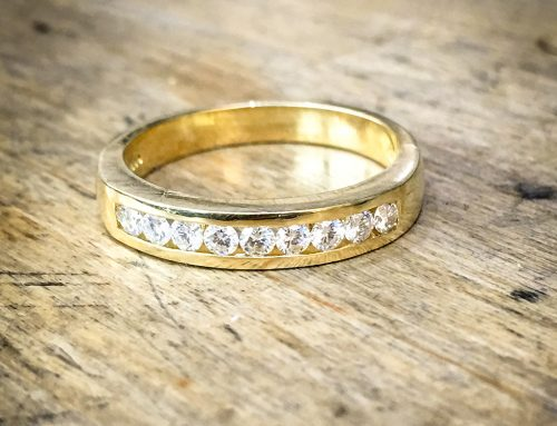 WEDDING RINGS: 18ct Yelow Gold Diamond Channel Set
