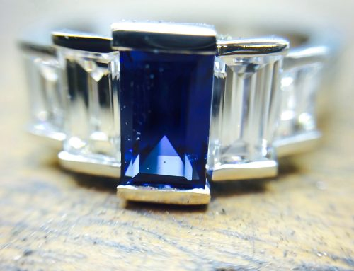 COCKTAIL RINGS: Art Deco Inspired Diamond & Sapphire Ring