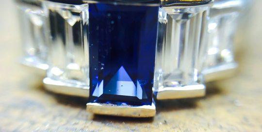 Sapphire Platinum & Diamond Art Deco Engagement Ring
