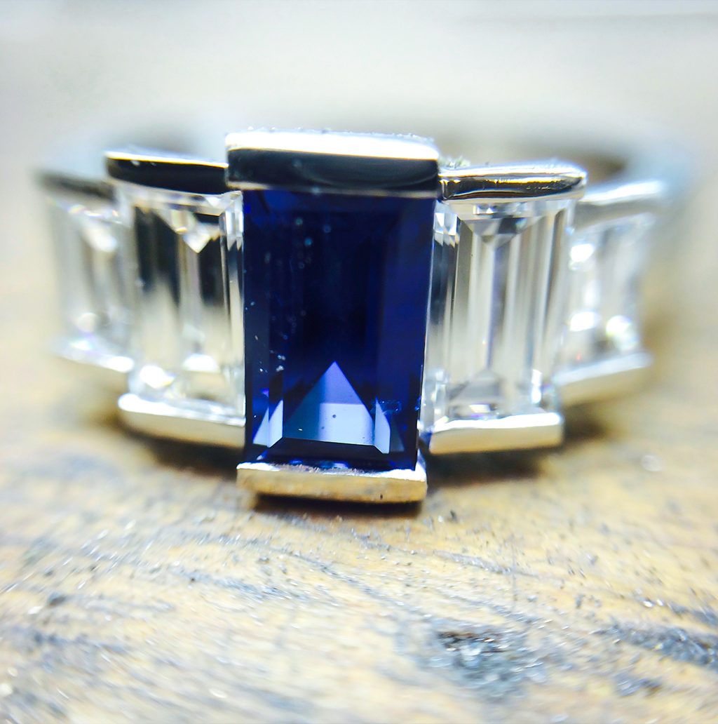 Sapphire Platinum & Diamond Art Deco Engagement Ring