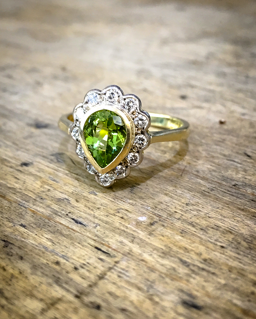 pin round halo gold white peridot rings engagement diamond ring