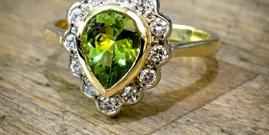 Peridot & Diamond Engagement Ring