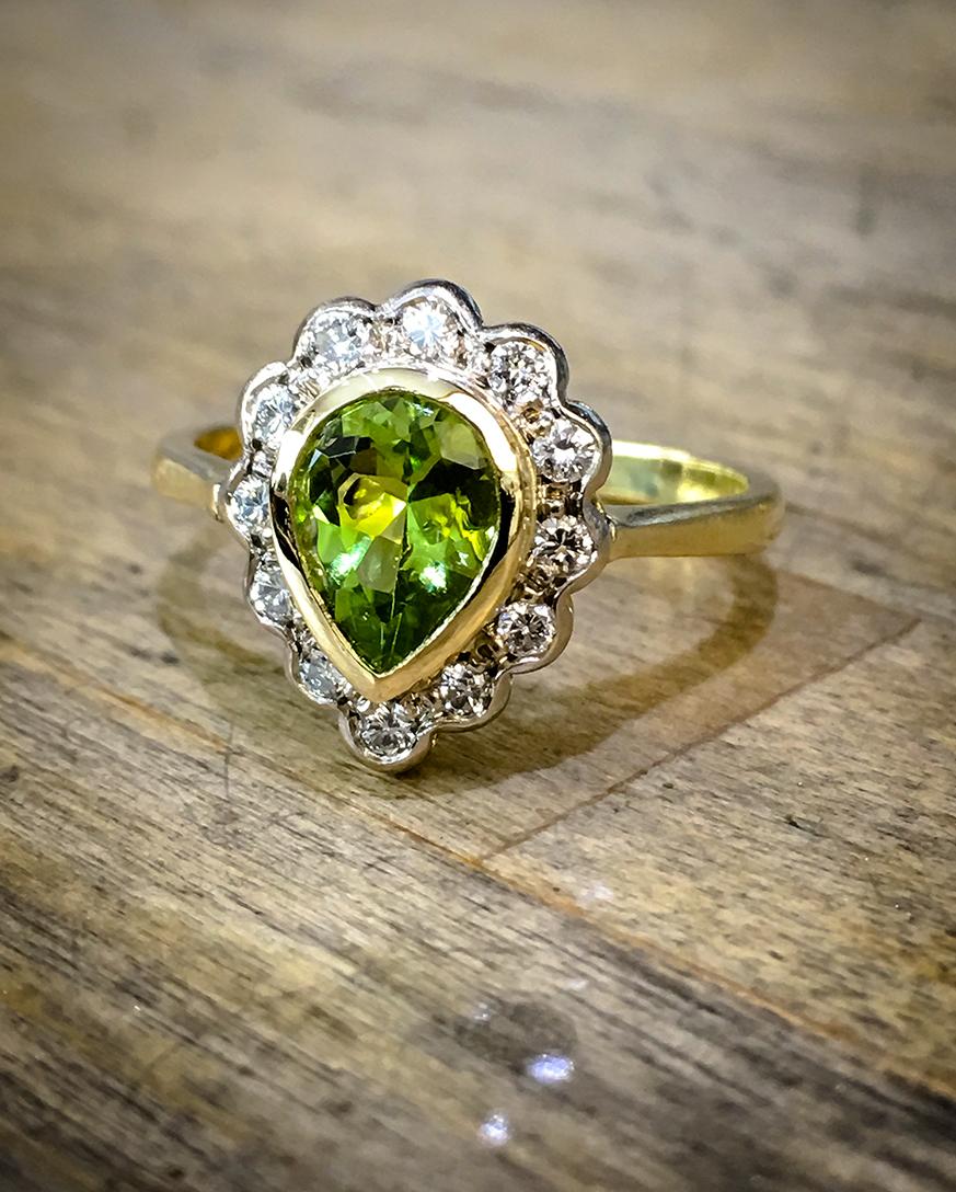 Peridot & Diamond Engagement Ring