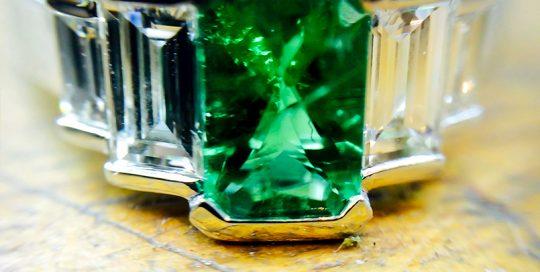 Emerald Platinum & Diamond Art Deco Engagement Ring