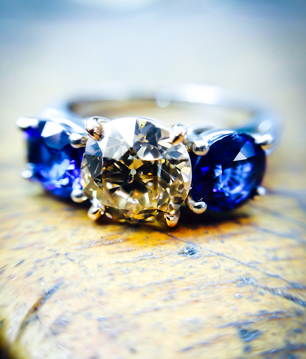 Old Cut Diamond & Sapphire Trilogy Engagement Ring