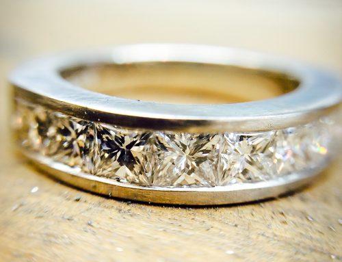 ETERNITY RINGS: Diamond & Platinum Princess Cut Channel Eternity