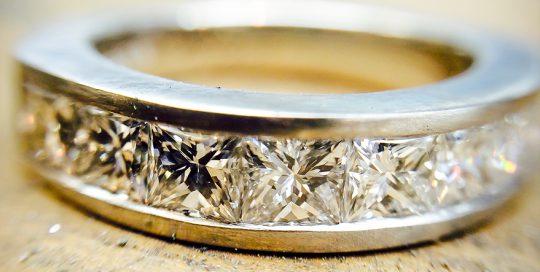 Diamond & YPlatinum Princess Cut Channel Eternity