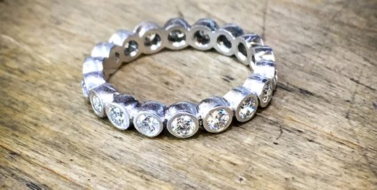 Full eternity platinum and diamond eternity band