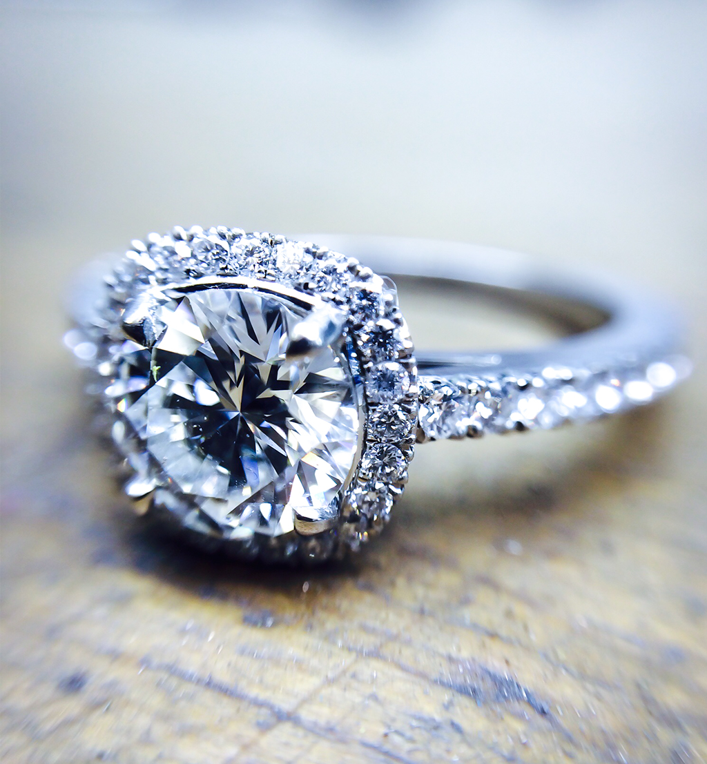Diamond Halo cushion cut engagement ring