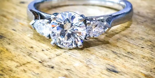 Diamond Platinum Engagement Ring Pear Shoulders