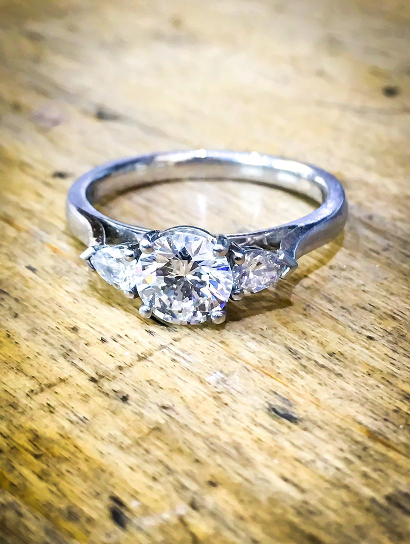 Diamond Platinum Engagement Ring Pear Shoulders