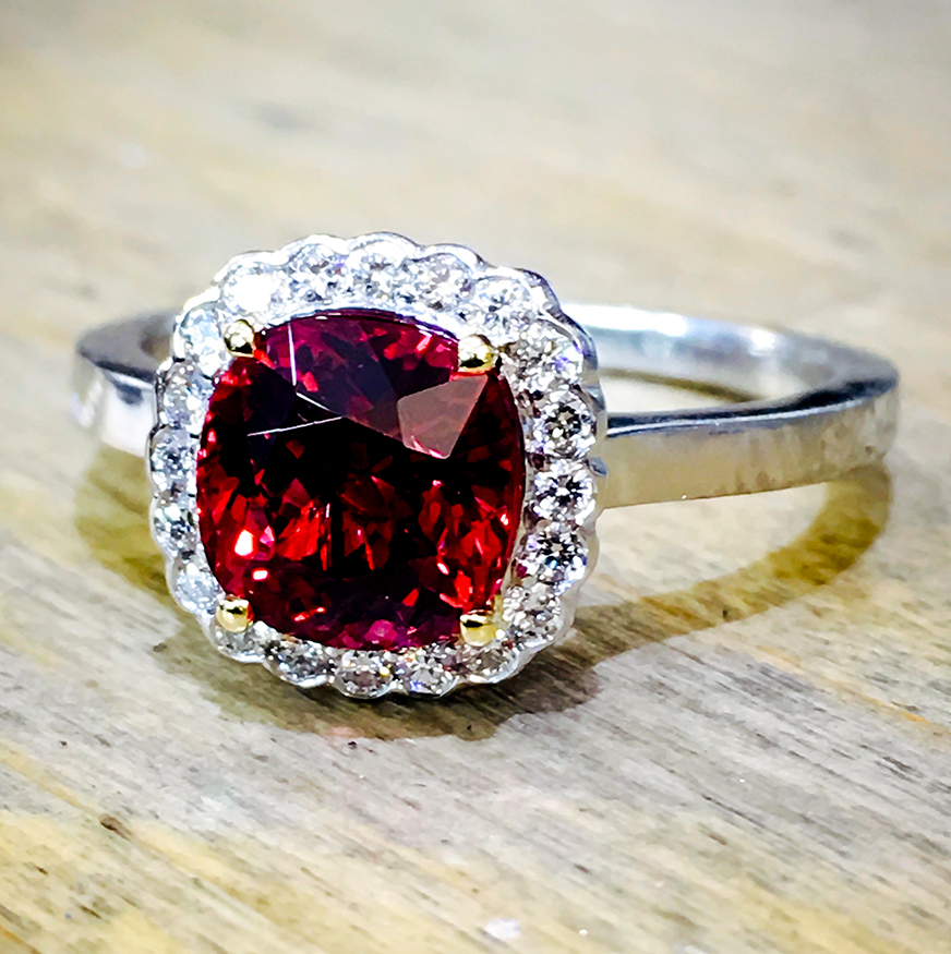 Ruby Cushion Cut 18ct engagement ring