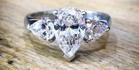 Platinum pear engagement ring diamond