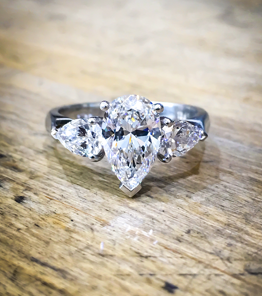 Platinum pear engagement ring diamond