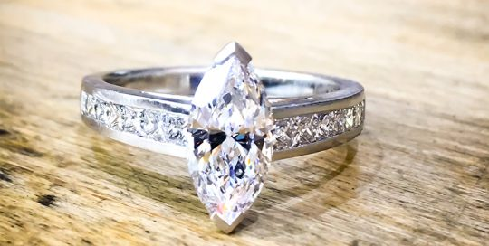 Marquise platinum engagement ring