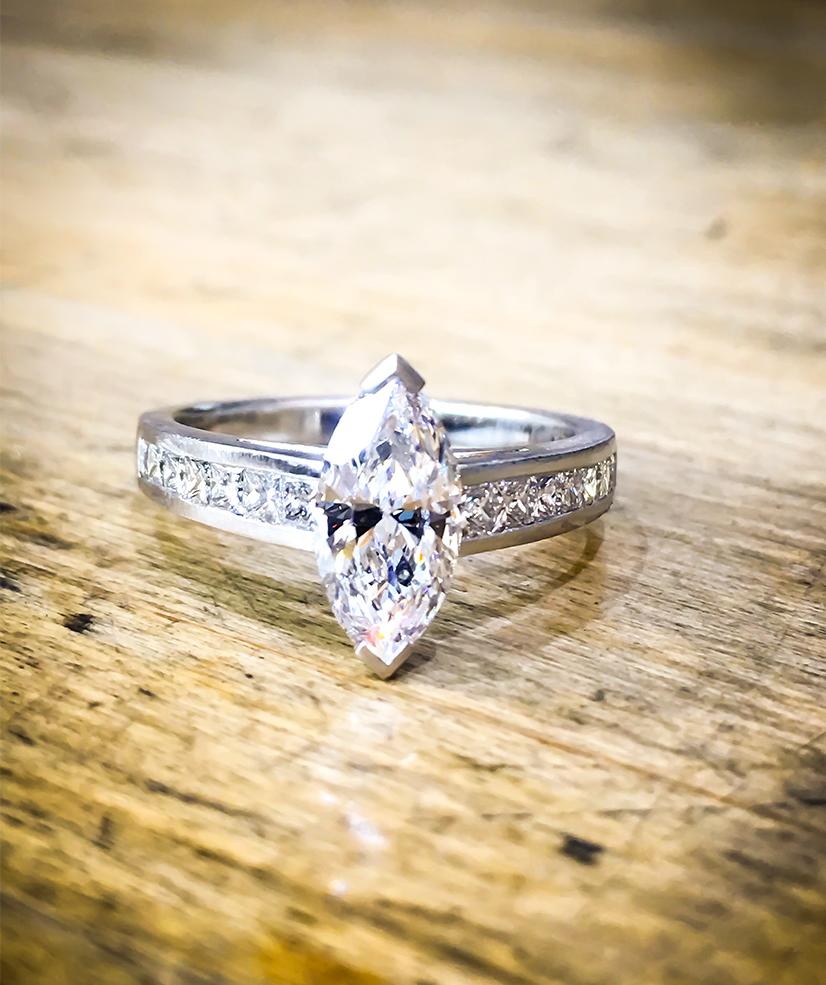 Marquise platinum engagement ring