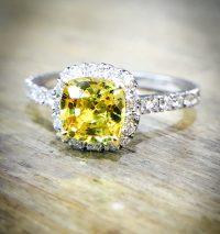 Yellow sappire platinum and diamond engagement ring