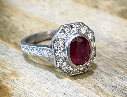 ENGAGEMENT RINGS: Diamond, Ruby & Platinum Halo Solitaire