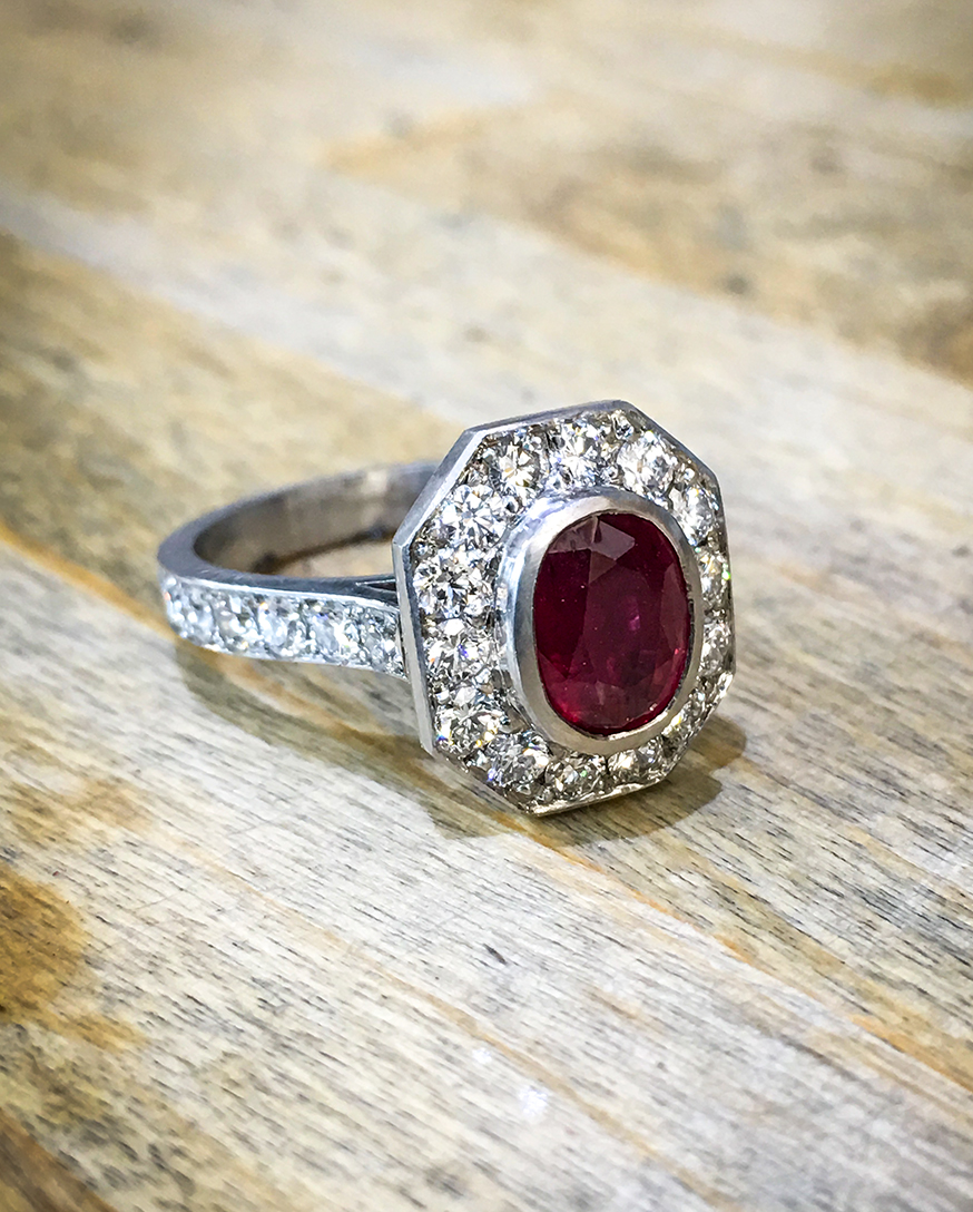 Ruby and diamond platinum engagement ring