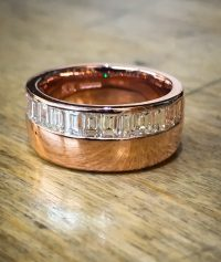 18ct Rose gold channel set wedding band ring