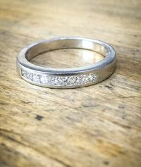 platinum and diamond princess cut half eternity wedding band ring