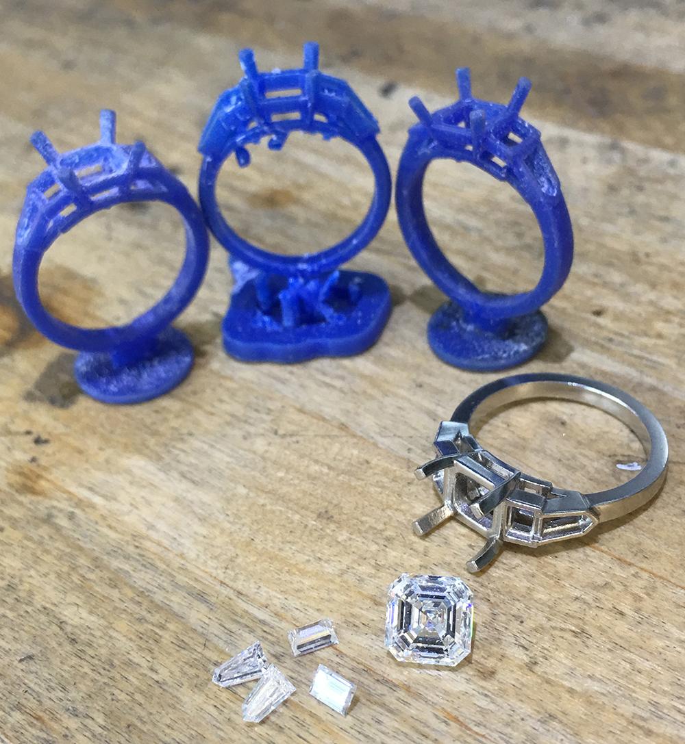 3D CAD model for asscher cut ring ring