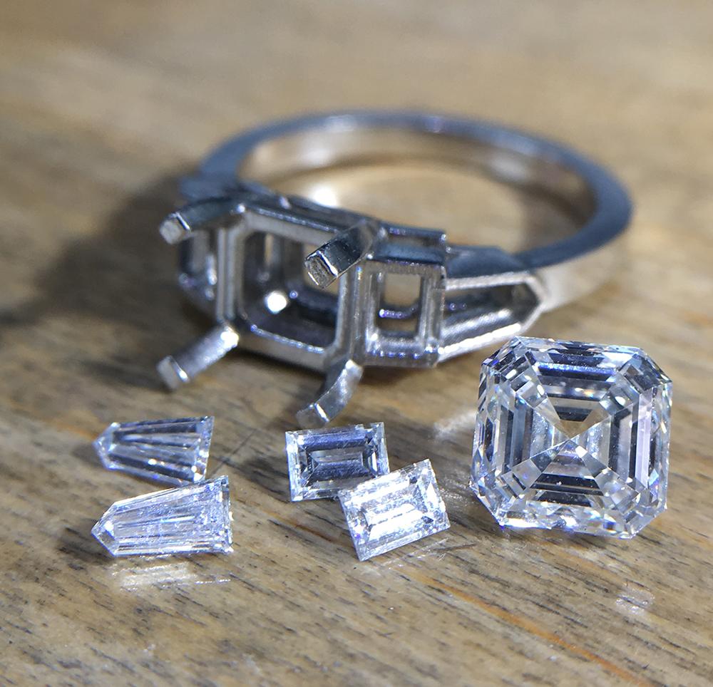 Cast for asscher cut ring