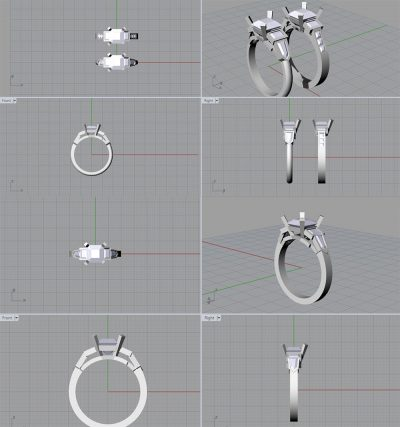 3D CAD modelling for asscher cut ring