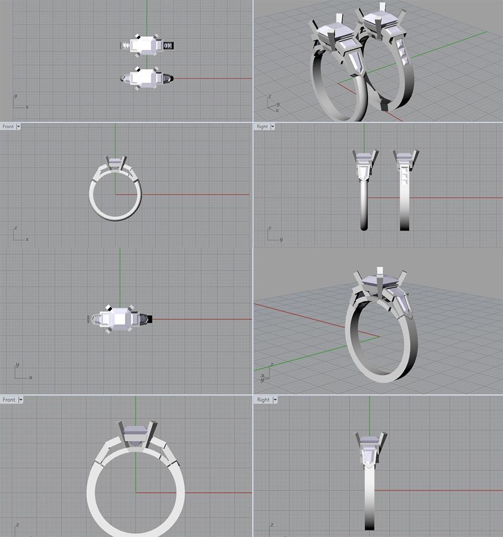 3D CAD modelling for asscher cut ring