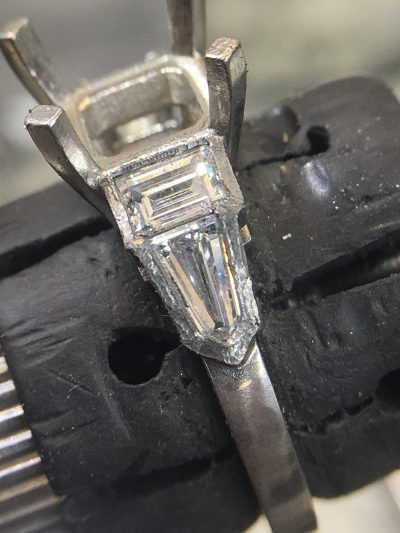 working on asscher cut ring