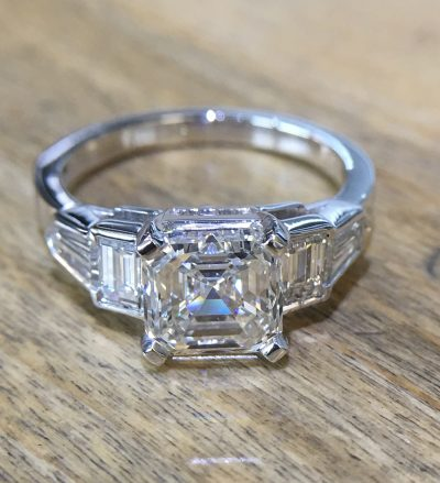 2ct asscher cut platinum diamond engagement ring