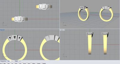 CAD 3D model of engagement ring