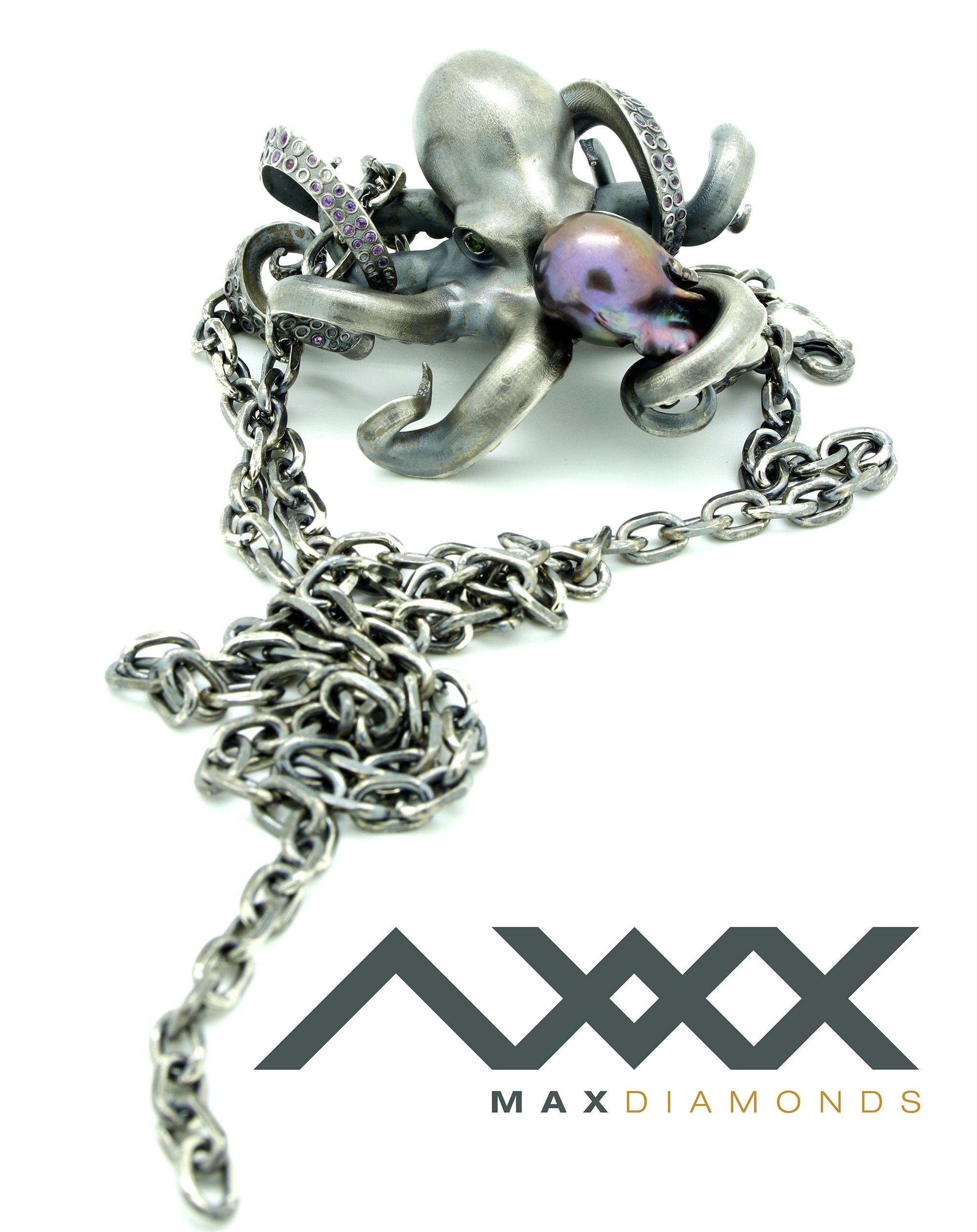 Blackened Silver octopus pendant 3Design